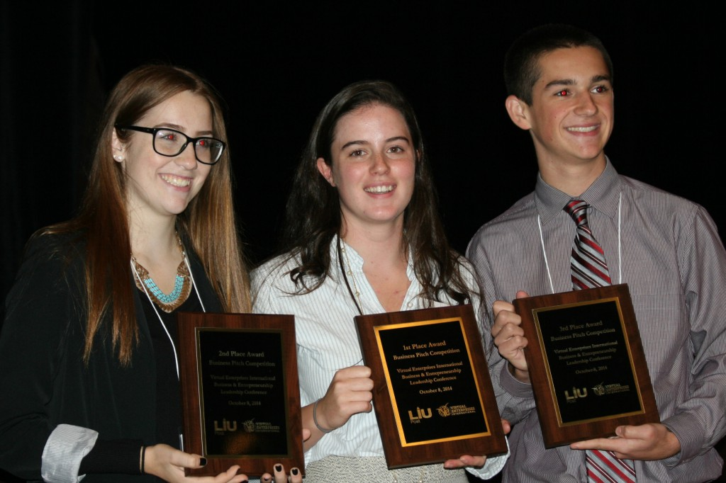 Students who delivered the top pitches (from left to right) Fressia, Lisa, and William
